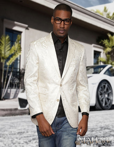 Ivory Paisley Formal Blazer