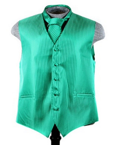 Apple Green Tonal Stripe Vest Set