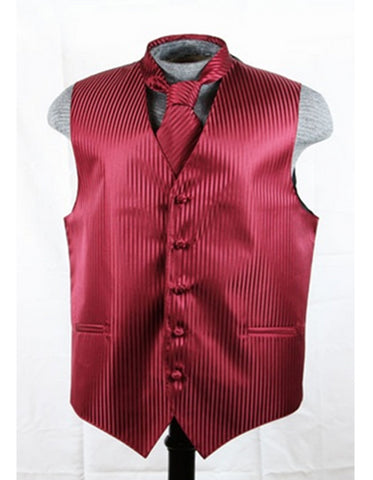 Burgundy Tonal Stripe Vest Set