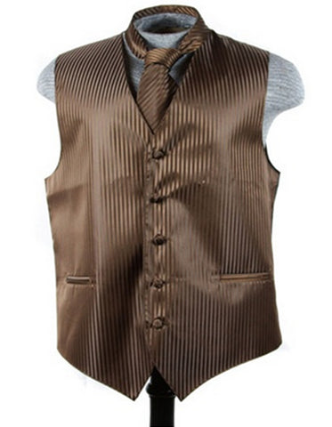 Brown Tonal Stripe Vest Set