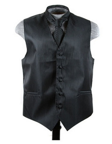 Black Tonal Stripe Vest Set