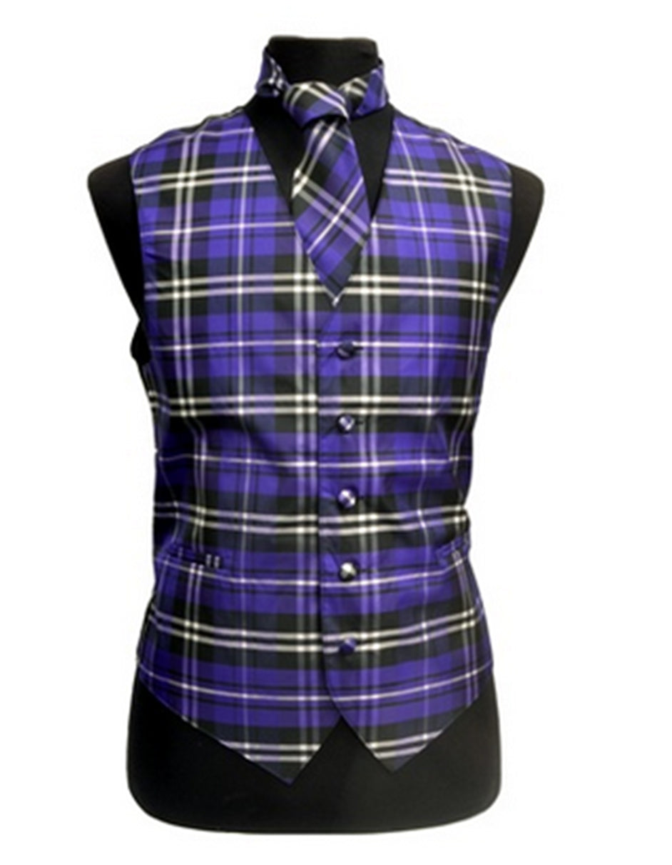 Purple Plaid Vest Set