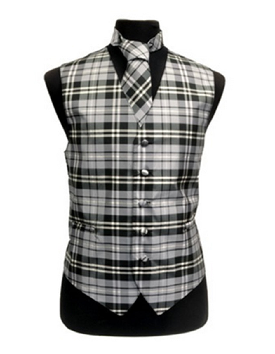 Grey Plaid Vest Set