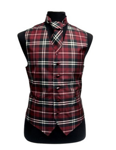 Burgundy Plaid Vest Set