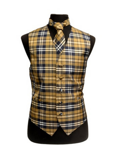 Yellow Plaid Vest Set
