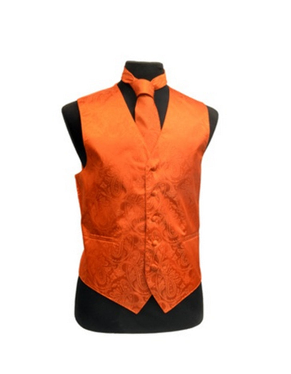 Orange Paisley Vest Set