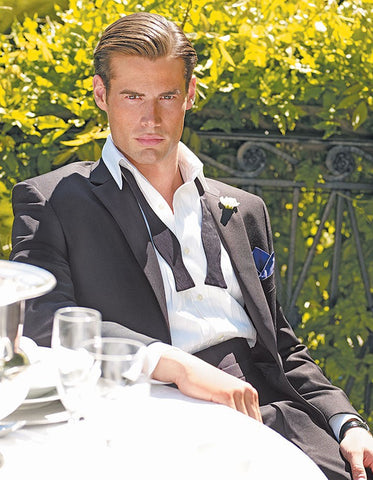 Mens Designer Black Slim Wedding Tuxedo