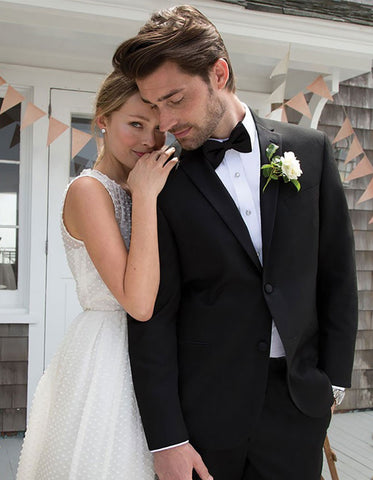 Black Modern Wedding Notch Tuxedo