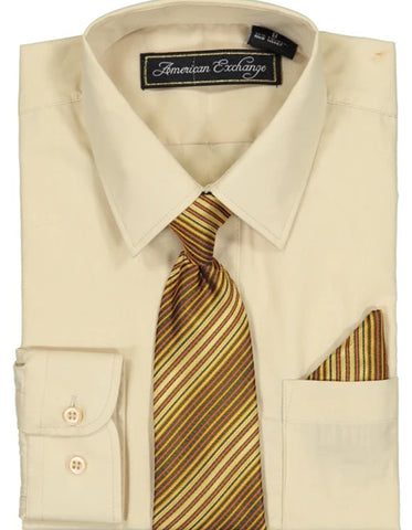 Boys Dress Shirt with Matching Tie and Hanky in  Beige