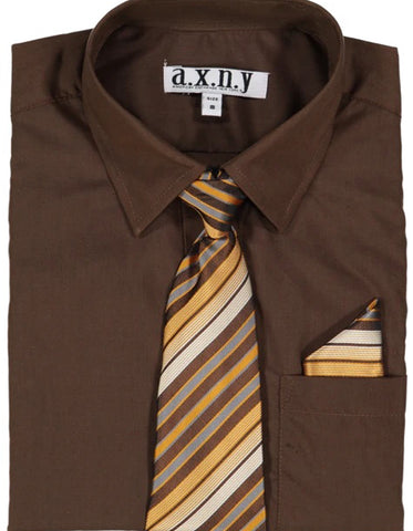 Boys Dress Shirt with Matching Tie and Hanky in  Brown