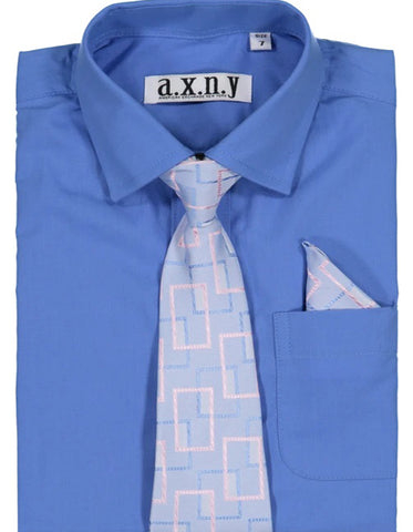 Boys Dress Shirt with Matching Tie and Hanky in  Dark Blue