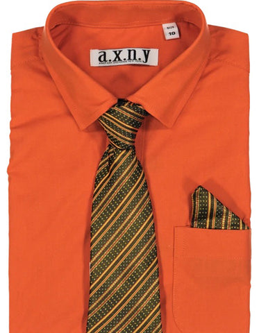 Boys Dress Shirt with Matching Tie and Hanky in  Dark Orange