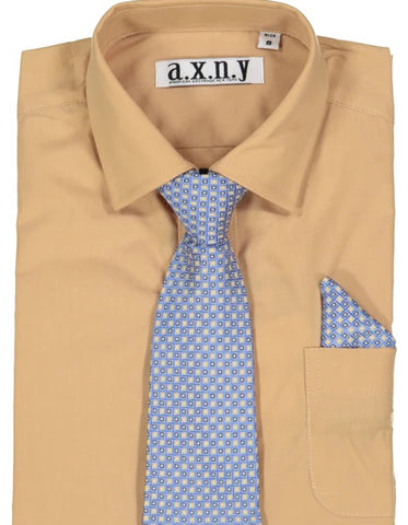 Boys Dress Shirt with Matching Tie and Hanky in  Gold