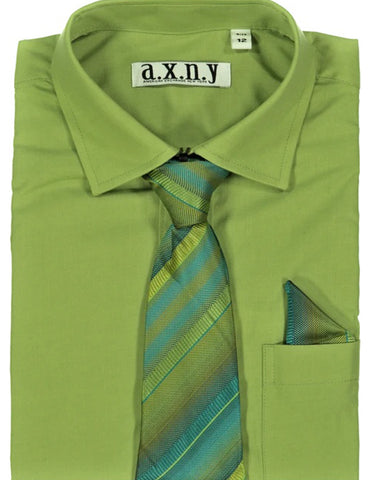 Boys Dress Shirt with Matching Tie and Hanky in  Hunter Green