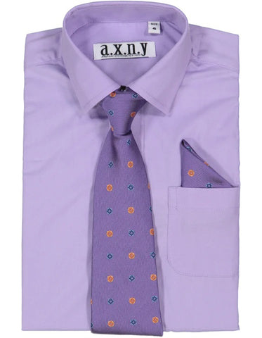 Boys Dress Shirt with Matching Tie and Hanky in  Lilac