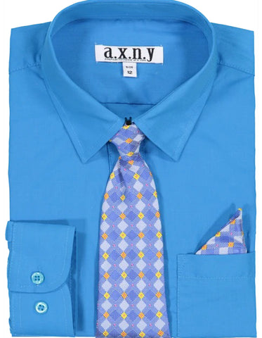 Boys Dress Shirt with Matching Tie and Hanky in  Ocean Blue