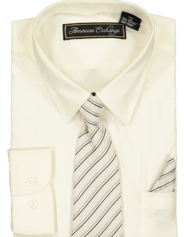 Boys Dress Shirt with Matching Tie and Hanky in  Off White