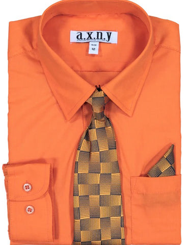 Boys Dress Shirt with Matching Tie and Hanky in  Orange