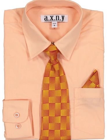 Boys Dress Shirt with Matching Tie and Hanky in  Peach