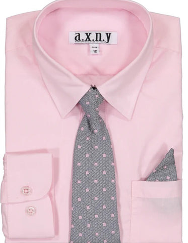 Boys Dress Shirt with Matching Tie and Hanky in  Pink