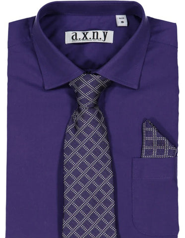 Boys Dress Shirt with Matching Tie and Hanky in  Purple
