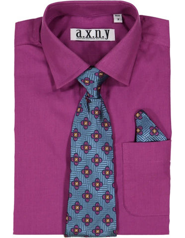Boys Dress Shirt with Matching Tie and Hanky in  Raisin