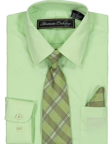 Boys Dress Shirt with Matching Tie and Hanky in  Seige