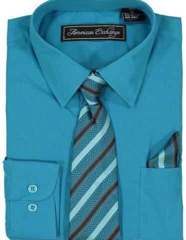 Boys Dress Shirt with Matching Tie and Hanky in  Topaz