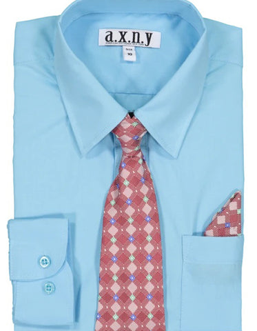 Boys Dress Shirt with Matching Tie and Hanky in  Turquoise