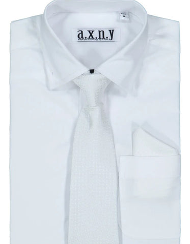 Boys Dress Shirt with Matching Tie and Hanky in  White