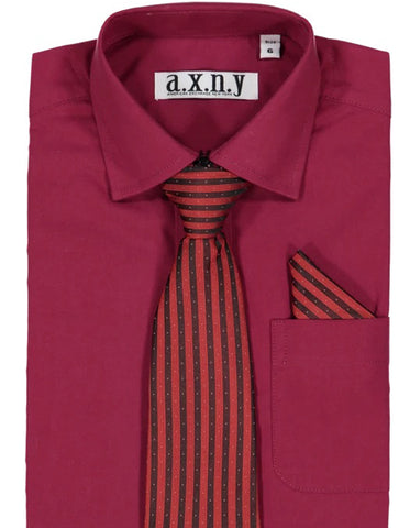 Boys Dress Shirt with Matching Tie and Hanky in  Wine