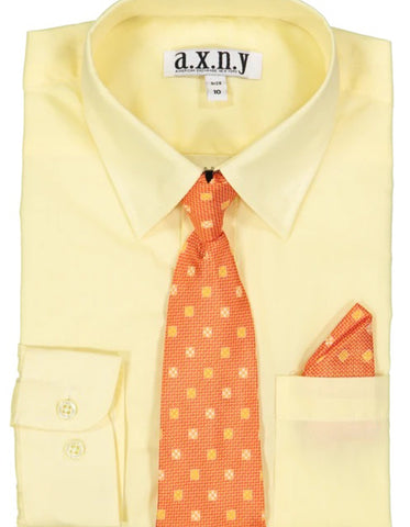 Boys Dress Shirt with Matching Tie and Hanky in  Yellow