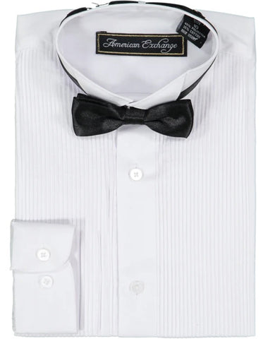 Boys White Tuxedo Shirt and Bowtie Set