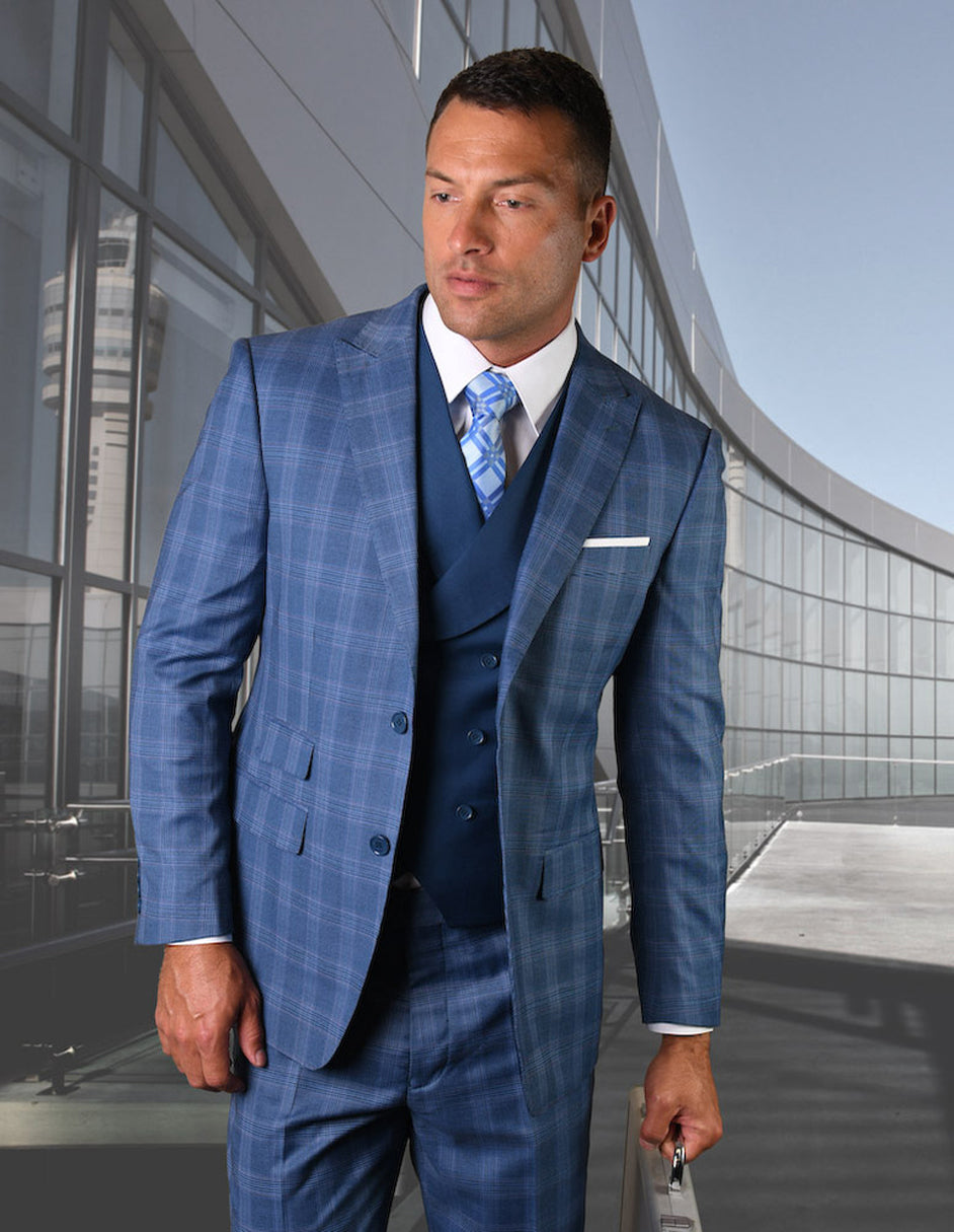 Mens 2 Button Vested Wide Peak Lapel Suit in Indigo Plaid