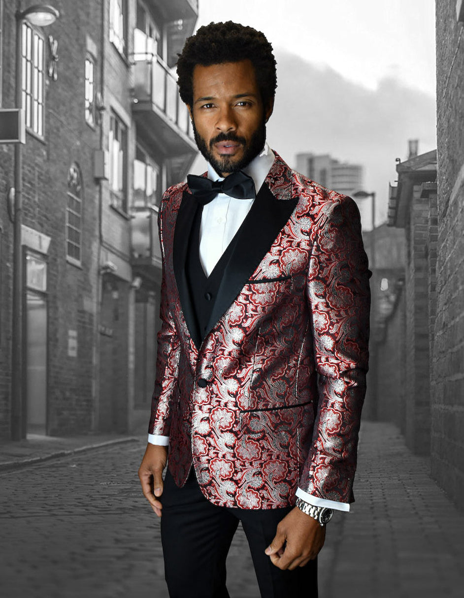 Mens Vested One Button Peak Lapel Shiny Floral Tuxedo in Red
