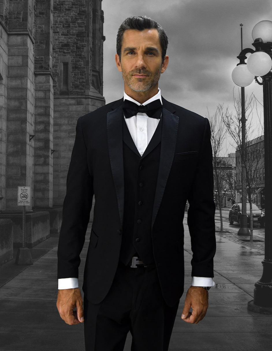 Mens Vested One Button Notch Lapel Wool Tuxedo in Black