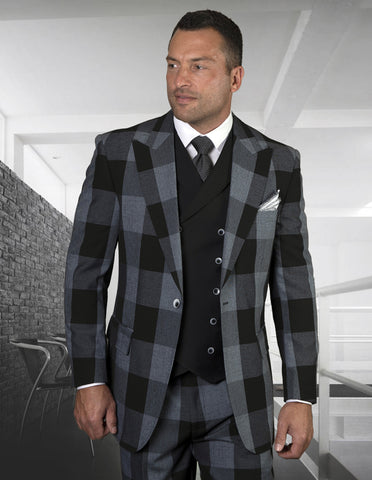 Mens 2 Button Wide Peak Lapel Double Breasted Vest Suit in Black Plaid