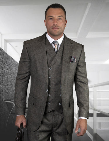 Mens One Button Wool Wide Peak Lapel Vested Pleated Pant Suit in Charcoal Grey