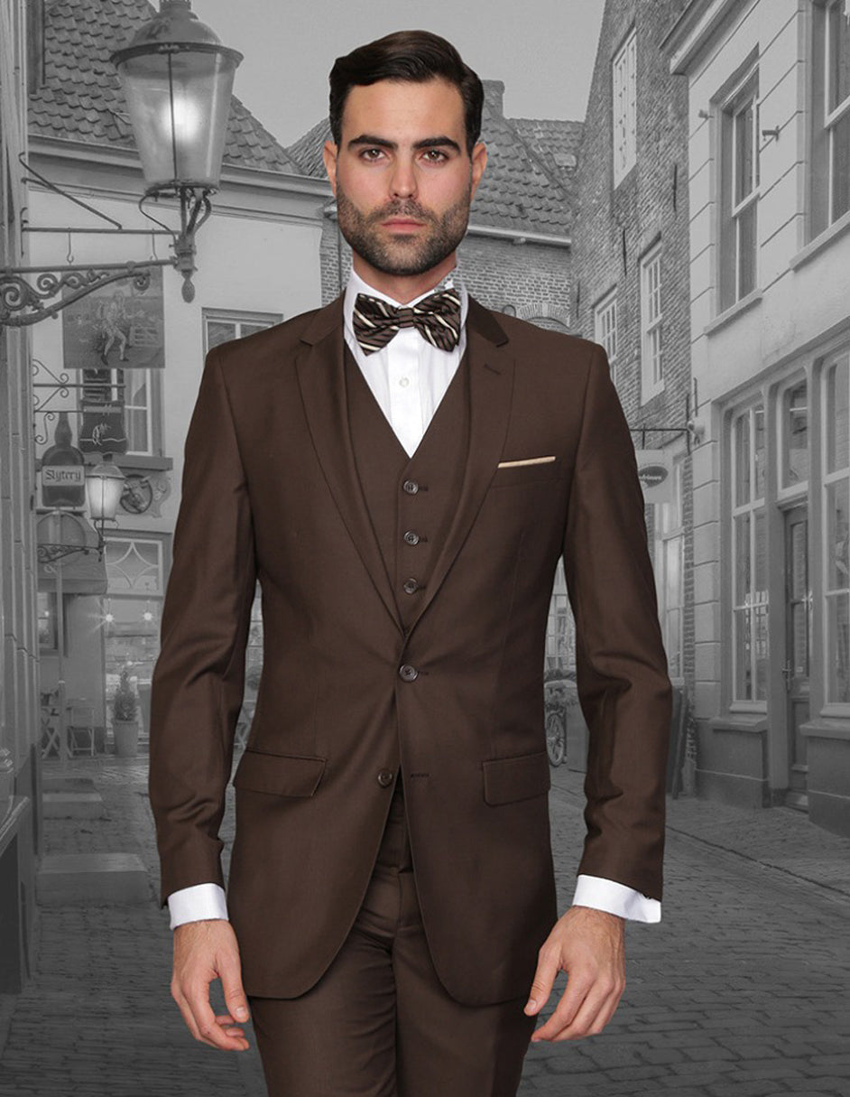 Mens 2 Button Skinny Vested Wool Suit in Brown
