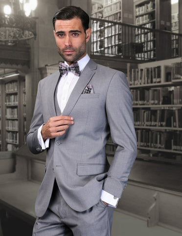 Mens 2 Button Skinny Vested Wool Suit in Grey