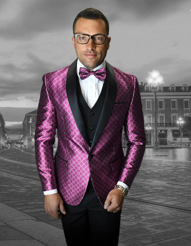 Mens Vested One Button Shawl Tuxedo in Geometric Chain Print in Fuschia