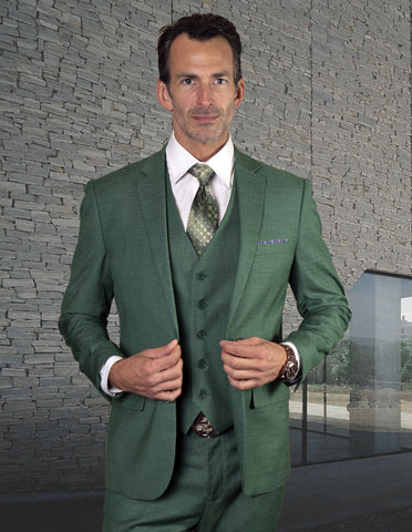 Mens 2 Button Slim Fit Vested Wool Suit in Forest Green