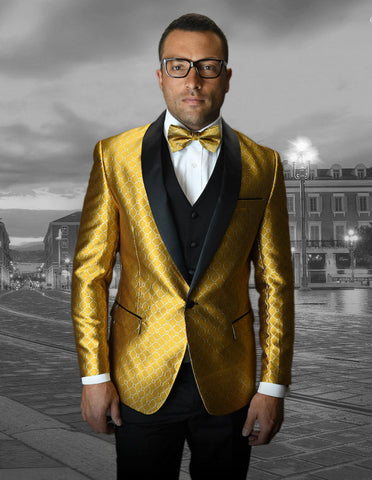 Mens Vested One Button Shawl Tuxedo in Geometric Chain Print in Gold