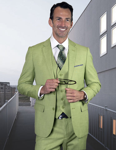 Mens 2 Button Slim Fit Vested Wool Suit in Pistachio Light Green