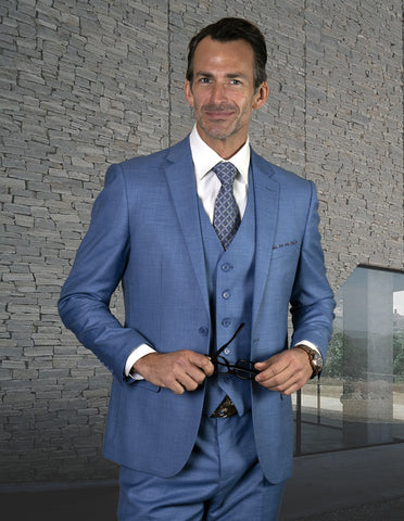 Mens 2 Button Slim Fit Vested Wool Suit in Steel Blue