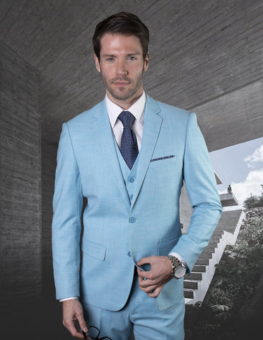 Mens 2 Button Slim Fit Vested Wool Suit in Turquoise