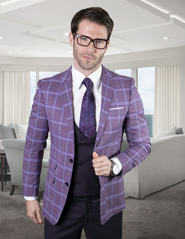 Mens 2 Button Suit with Low Cut Vest in Eggplant | Purple Plaid