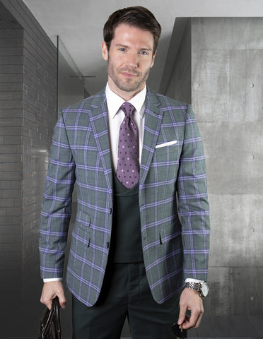 Mens 2 Button Suit with Low Cut Vest in Hunter Green Plaid