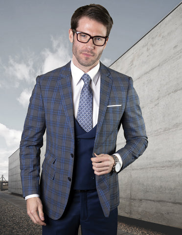 Mens 2 Button Suit with Low Cut Vest in Sapphire Blue Plaid