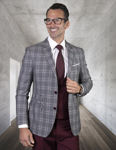 Mens 2 Button Suit with Low Cut Vest in Burgundy Plaid
